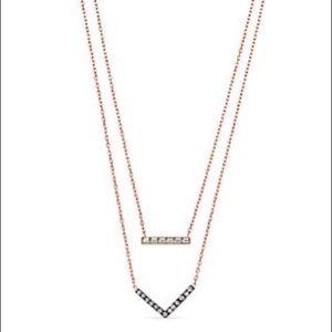 mk -  rose gold tone crystal chevron necklace